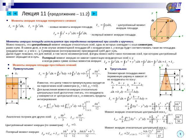 8 x x y dx dy O y Моменты инерции площади поперечного сечения: осевые моменты инерции площади, полярный момент инерции площади. центробежный момент инерции площади. Лекция 11 (продолжение – 11.2) Моменты инерции площади используются при определении …