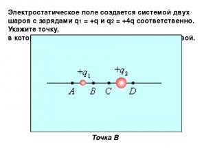 Электростатическое поле создается системой двух шаров с зарядами q1 = +q и q2 =