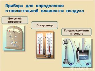 Приборы для определения относительной влажности воздуха Волосной гигрометр Психр