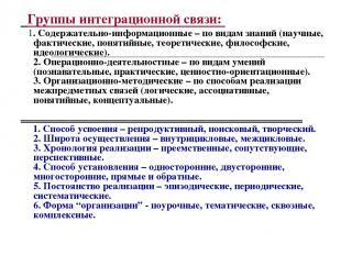 Группы интеграционной связи: 1. Содержательно-информационные – по видам знаний (