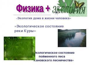 «Экология дома в жизни человека» «Экологическое состояние реки Куры» «Экологичес