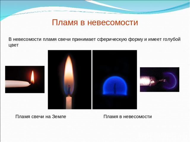 Пламя в невесомости В невесомости пламя свечи принимает сферическую форму и имеет голубой цвет Пламя свечи на Земле Пламя в невесомости