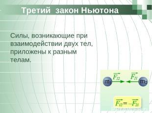 Третий закон Ньютона Силы, возникающие при взаимодействии двух тел, приложены к