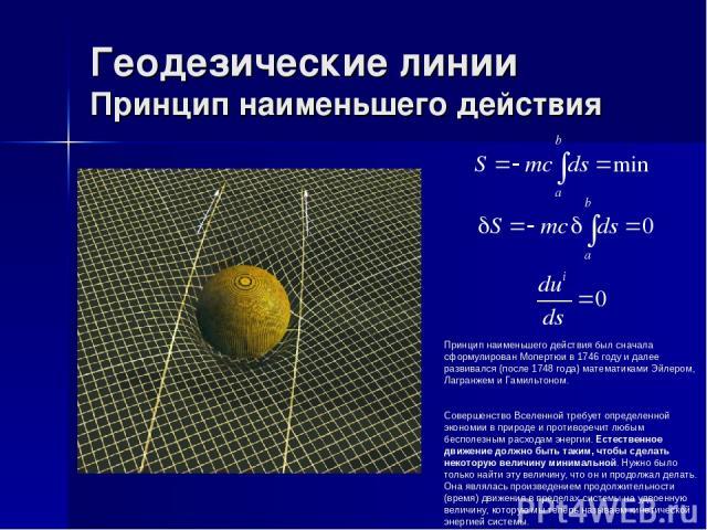 Геодезические линии Принцип наименьшего действия Принцип наименьшего действия был сначала сформулирован Мопертюи в 1746 году и далее развивался (после 1748 года) математиками Эйлером, Лагранжем и Гамильтоном. Совершенство Вселенной требует определен…