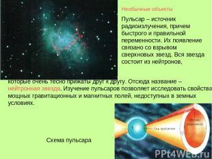 Необычные объекты Пульсар – источник радиоизлучения, причем быстрого и правильно