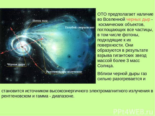 ОТО предполагает наличие во Вселенной черных дыр - космических объектов, поглощающих все частицы, в том числе фотоны, подходящие к их поверхности. Они образуются в результате взрыва гигантских звезд массой более 3 масс Солнца. Вблизи черной дыры газ…