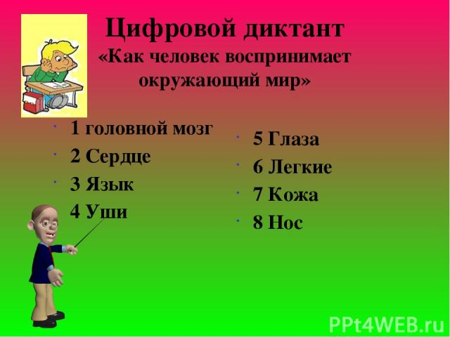 Цифровой диктант «Как человек воспринимает окружающий мир» 1 головной мозг 2 Сердце 3 Язык 4 Уши 5 Глаза 6 Легкие 7 Кожа 8 Нос