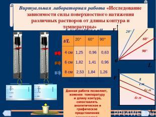 Виртуальная лабораторная работа «Исследование зависимости силы поверхностного на