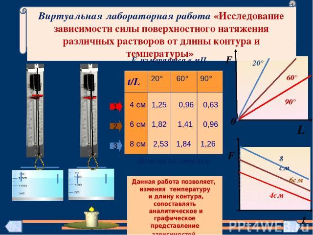 Виртуальная лабораторная работа «Исследование зависимости силы поверхностного натяжения различных растворов от длины контура и температуры» F 0 90° 60° 20° L F 4см 6см 8 см t 1 2 3 1,25 0,96 0,63 4 см 6 см 1,82 1,41 0,96 8 см 2,53 1,84 1,26 Данная р…
