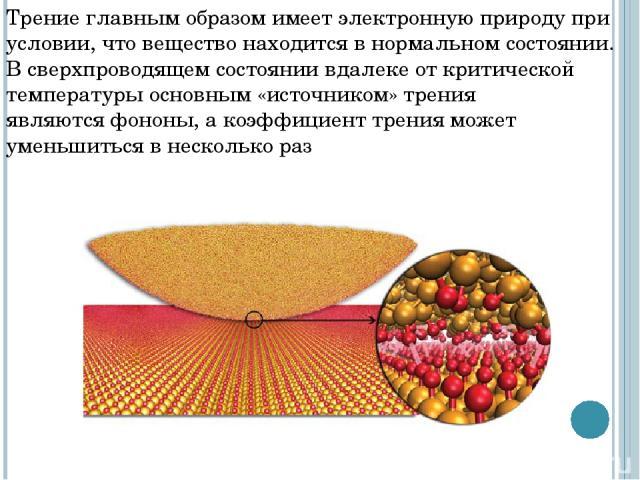Трение главным образом имеет электронную природу при условии, что вещество находится в нормальном состоянии. Всверхпроводящем состояниивдалеке от критической температуры основным «источником» трения являютсяфононы, а коэффициент трения может умен…