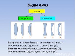 Виды линз Выпуклые линзы бывают: двояковыпуклые(1), плосковыпуклые (2), вогнуто-