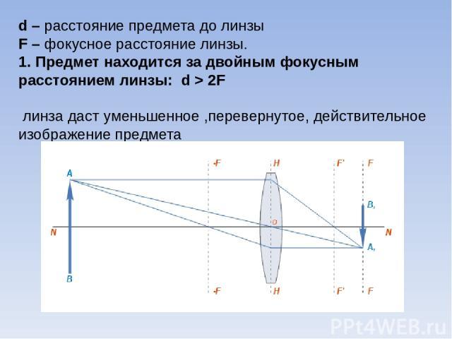 d – расстояние предмета до линзы F – фокусное расстояние линзы. 1. Предмет находится за двойным фокусным расстоянием линзы: d > 2F линза даст уменьшенное ,перевернутое, действительное изображение предмета