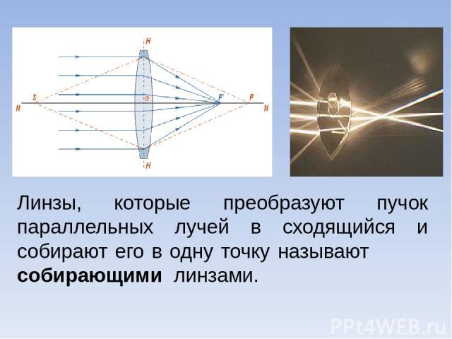 Линзы, которые преобразуют пучок параллельных лучей в сходящийся и собирают его в одну точку называют собирающими линзами.