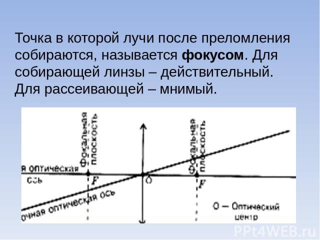 Точка в которой лучи после преломления собираются, называется фокусом. Для собирающей линзы – действительный. Для рассеивающей – мнимый.