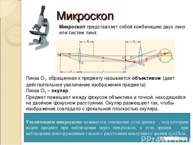 Микроскоп Микроскоп представляет собой комбинацию двух линз или систем линз. Линза О1, обращенная к предмету называется объективом (дает действительное увеличение изображения предмета). Линза О2 – окуляр. Предмет помещают между фокусом объектива и т…