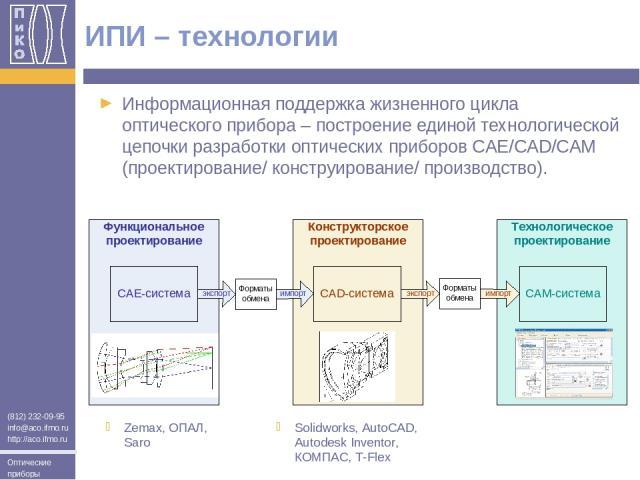 Информационная поддержка жизненного цикла оптического прибора – построение единой технологической цепочки разработки оптических приборов CAЕ/CAD/CAM (проектирование/ конструирование/ производство). ИПИ – технологии Zemax, ОПАЛ, Saro Solidworks, Auto…