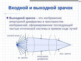 * Входной и выходной зрачок Выходной зрачок – это изображение апертурной диафраг