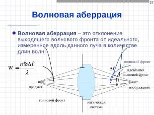 * Волновая аберрация Волновая аберрация – это отклонение выходящего волнового фр