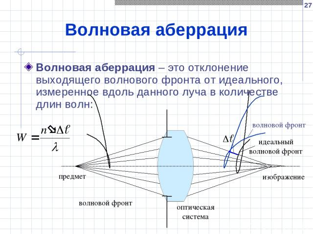* Волновая аберрация Волновая аберрация – это отклонение выходящего волнового фронта от идеального, измеренное вдоль данного луча в количестве длин волн: