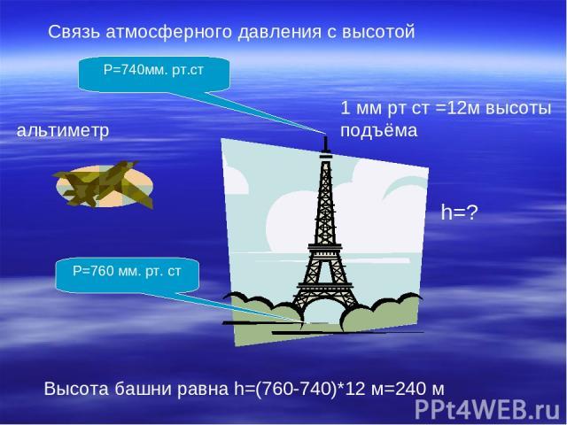 Связь атмосферного давления с высотой 1 мм рт ст =12м высоты подъёма P=740мм. рт.ст P=760 мм. рт. ст Высота башни равна h=(760-740)*12 м=240 м альтиметр h=?