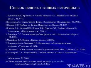 Список использованных источников 1. Бушманов Б.Н., Хромов Ю.А. Физика твердого т