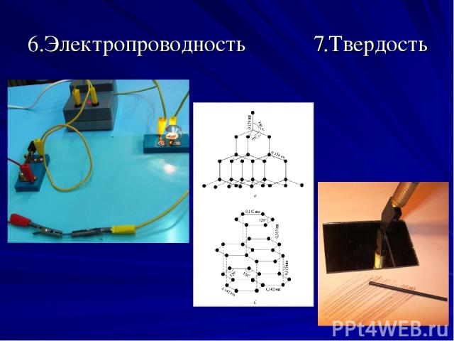 6.Электропроводность 7.Твердость