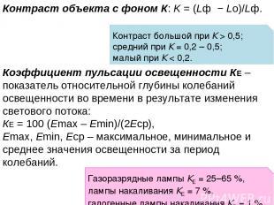 Контраст объекта с фоном К: K = (Lф − Lо)/Lф. Коэффициент пульсации освещенности