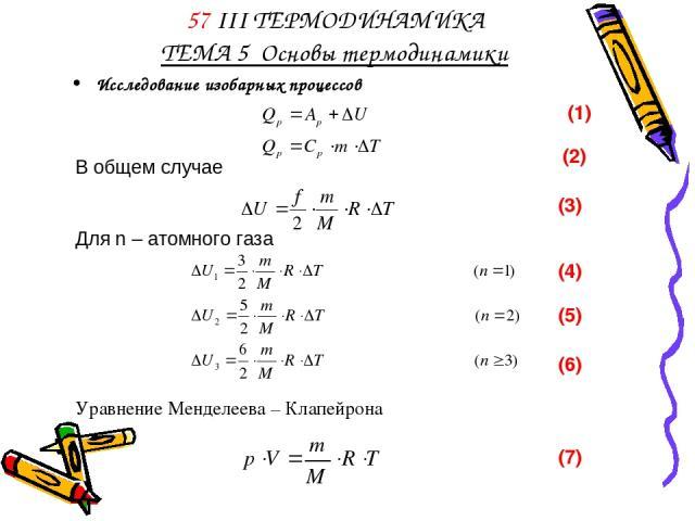 57 III ТЕРМОДИНАМИКА ТЕМА 5 Основы термодинамики Исследование изобарных процессов (3) (4) (5) (6) Уравнение Менделеева – Клапейрона (7)