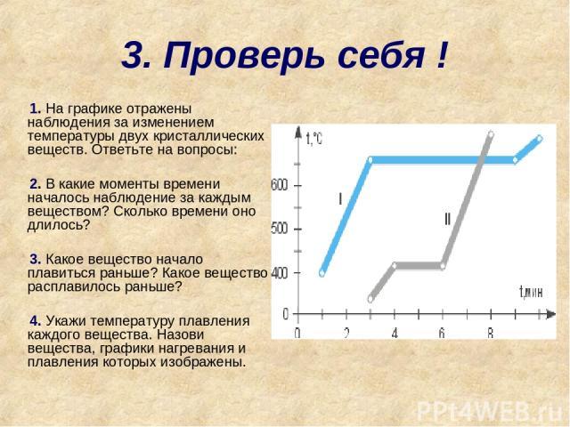 3. Проверь себя ! 1. На графике отражены наблюдения за изменением температуры двух кристаллических веществ. Ответьте на вопросы: 2. В какие моменты времени началось наблюдение за каждым веществом? Сколько времени оно длилось? 3. Какое вещество начал…