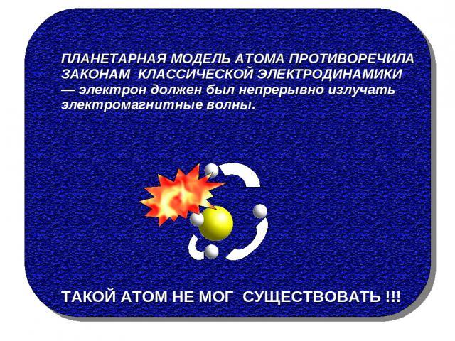 ПЛАНЕТАРНАЯ МОДЕЛЬ АТОМА ПРОТИВОРЕЧИЛА ЗАКОНАМ КЛАССИЧЕСКОЙ ЭЛЕКТРОДИНАМИКИ — электрон должен был непрерывно излучать электромагнитные волны. ТАКОЙ АТОМ НЕ МОГ СУЩЕСТВОВАТЬ !!!