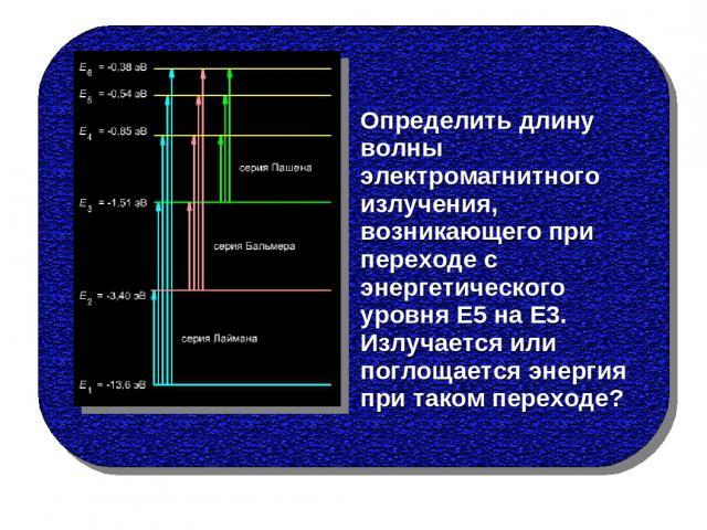 Определить длину волны электромагнитного излучения, возникающего при переходе с энергетического уровня Е5 на Е3. Излучается или поглощается энергия при таком переходе?