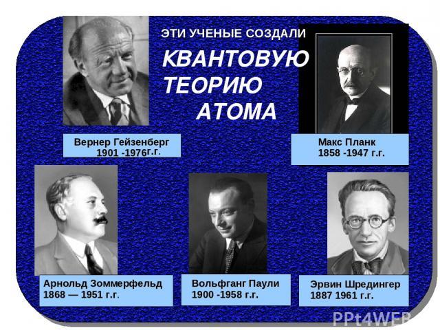 Вернер Гейзенберг 1901 -1976 Эрвин Шредингер 1887 1961 г.г. Макс Планк 1858 -1947 г.г. г.г. Арнольд Зоммерфельд 1868 — 1951 г.г. КВАНТОВУЮ ТЕОРИЮ АТОМА ЭТИ УЧЕНЫЕ СОЗДАЛИ Вольфганг Паули 1900 -1958 г.г.