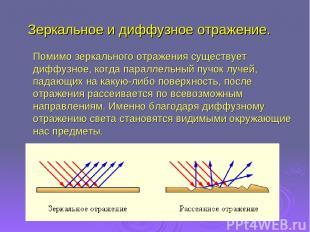 Помимо зеркального отражения существует диффузное, когда параллельный пучок луче