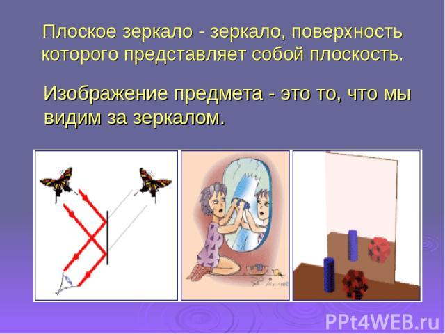 Плоское зеркало - зеркало, поверхность которого представляет собой плоскость. Изображение предмета - это то, что мы видим за зеркалом.