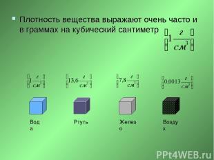 Плотность вещества выражают очень часто и в граммах на кубический сантиметр Вода