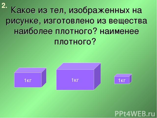 Какое из тел, изображенных на рисунке, изготовлено из вещества наиболее плотного? наименее плотного? 2. 1кг 1кг 1кг