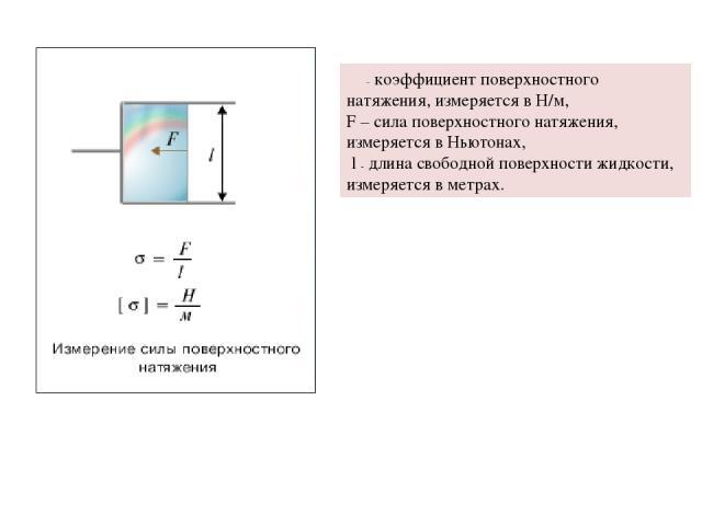 σ – коэффициент поверхностного натяжения, измеряется в Н/м, F – сила поверхностного натяжения, измеряется в Ньютонах, l - длина свободной поверхности жидкости, измеряется в метрах.