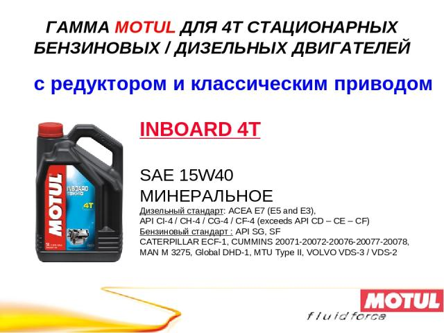INBOARD 4T SAE 15W40 МИНЕРАЛЬНОЕ Дизельный стандарт: ACEA E7 (E5 and E3), API CI-4 / CH-4 / CG-4 / CF-4 (exceeds API CD – CE – CF) Бензиновый стандарт : API SG, SF CATERPILLAR ECF-1, CUMMINS 20071-20072-20076-20077-20078, MAN M 3275, Global DHD-1, M…