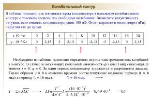 Колебательный контур В таблице показано, как изменялся заряд конденсатора в идеа