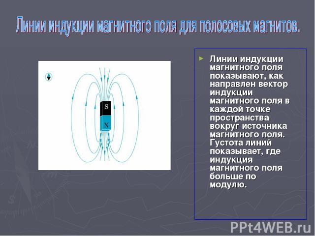 Линии индукции магнитного поля показывают, как направлен вектор индукции магнитного поля в каждой точке пространства вокруг источника магнитного поля. Густота линий показывает, где индукция магнитного поля больше по модулю.