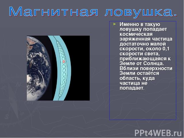 Именно в такую ловушку попадает космическая заряженная частица достаточно малой скорости, около 0,1 скорости света, приближающаяся к Земле от Солнца. Вблизи поверхности Земли остаётся область, куда частица не попадает.