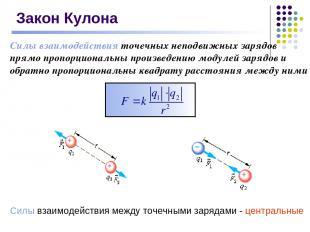 Закон Кулона Силы взаимодействия точечных неподвижных зарядов прямо пропорционал