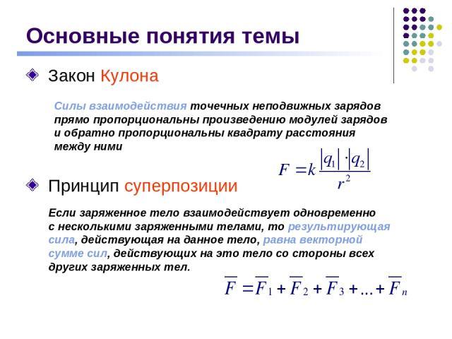 Закон Кулона Силы взаимодействия точечных неподвижных зарядов прямо пропорциональны произведению модулей зарядов и обратно пропорциональны квадрату расстояния между ними Основные понятия темы Принцип суперпозиции Если заряженное тело взаимодействует…