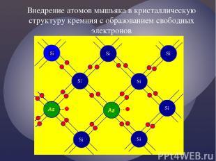 Внедрение атомов мышьяка в кристаллическую структуру кремния с образованием своб