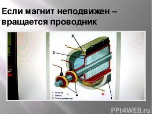 Если магнит неподвижен – вращается проводник .