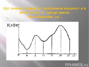 Суточный график потребляемой мощности в электросети города зимой. Чем объясняетс