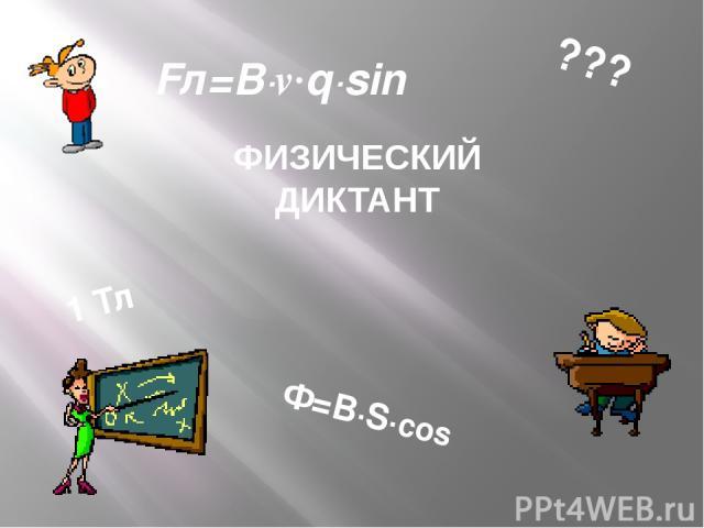 ФИЗИЧЕСКИЙ ДИКТАНТ 1 Тл Ф=В∙S∙cosα Fл=B∙v∙q∙sinα ???