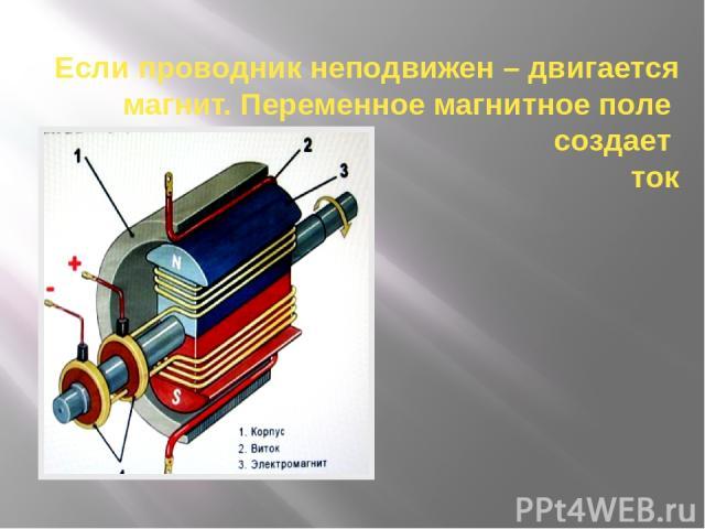 Если проводник неподвижен – двигается магнит. Переменное магнитное поле создает ток