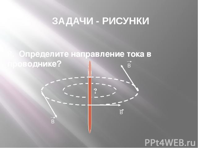ЗАДАЧИ - РИСУНКИ 8. Определите направление тока в проводнике? В В В I ?