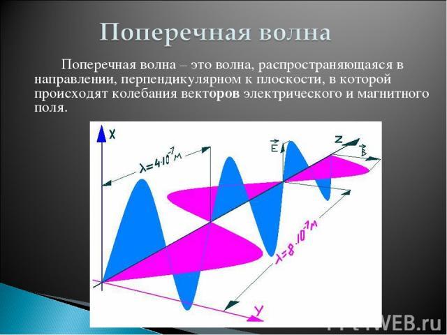 Поперечная волна – это волна, распространяющаяся в направлении, перпендикулярном к плоскости, в которой происходят колебания векторов электрического и магнитного поля.